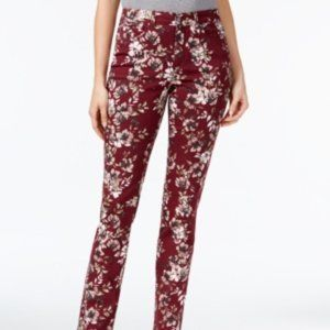 Charter Club Red Floral Print Tummy-Control Jeans